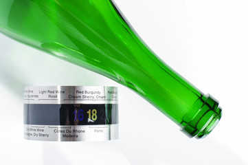 Champagne or sparkling wine bottle and wine thermometer