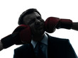 business man punch by boxing gloves silhouette