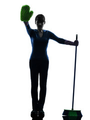 woman maid housework brooming stop gesture silhouette