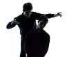 two  men twin brother friends domination concept silhouette