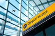 Leinwanddruck Bild - Airport Departure and Arrival sign at Heathrow, London
