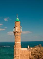 The minaret of ancient mosque Al Bahr in Jaffa in Tel Aviv