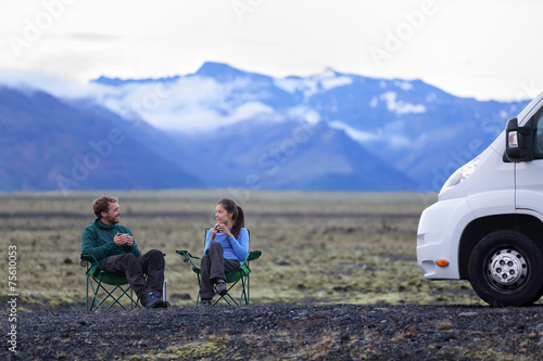 Leinwanddruck Bild Travel couple by mobile motor home RV campervan