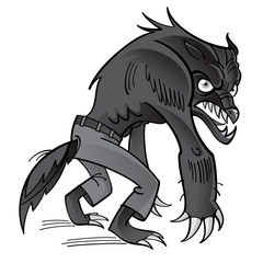 Werewolf - scary horrible ghoul in pants