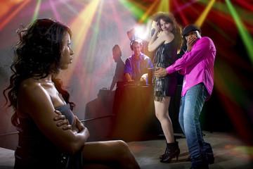 black male cheating on girlfriend at a nightclub