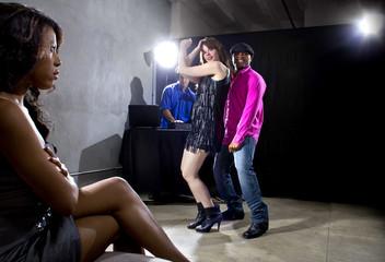 single black woman jealous of interracial couple on dancefloor