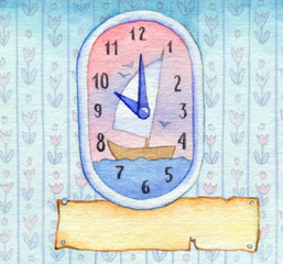Series of watercolors. Wall clock with a banner for text