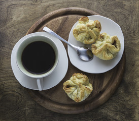 coffee and puff pastry snack