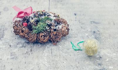 Christmas decoration on wood board