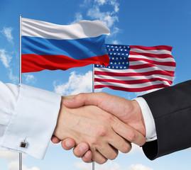 USA and Russian handshake