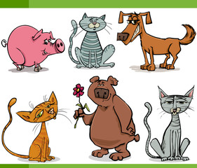 animals sketch cartoon set illustration