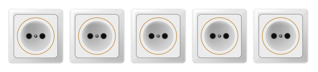 Five white sockets on a white background. Vector. EPS 10.