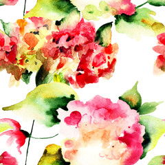 Seamless pattern with Beautiful Hydrangea flowers