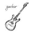 Vector illustration of a guitar. Sketch. - 75613241