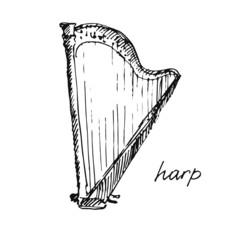 Vector illustration of a harp. Sketch.
