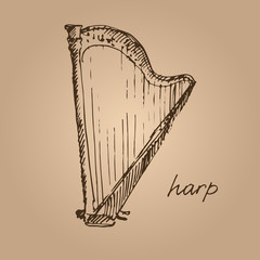 Vector illustration of a harp. Sketch.