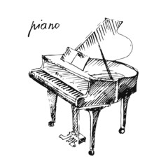 Vector illustration of a piano.