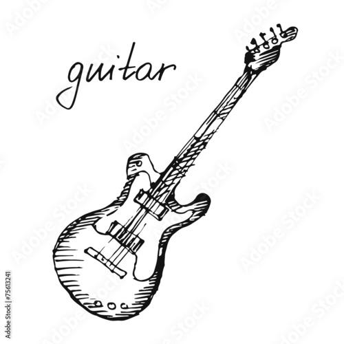 Vector illustration of a guitar. Sketch. - 75613241