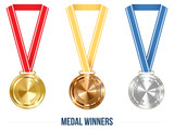 Champion Medal with  Ribbon. Vector illustration