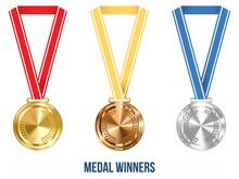 Champion Medal with  Ribbon. Vector illustration