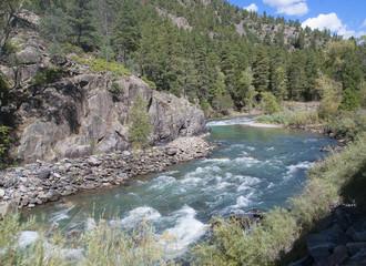 The Animas River by the Durango to Silverton Railway in Colorado