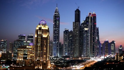 Dubai Marina Skyscrapers at night, UAE