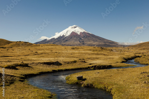 Leinwandbild Motiv Cotopaxi volcano and blue river