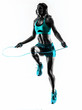 woman fitness Jumping Rope exercises silhouette - 75613872