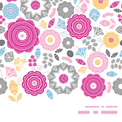 Vector vibrant floral scaterred horizontal frame seamless