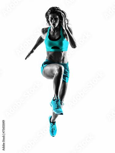 Tuinposter Persoonlijk woman runner running jogger jogging silhouette