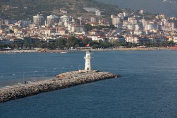 The view from the castle on the Ligthouse. Alanya, Turkey