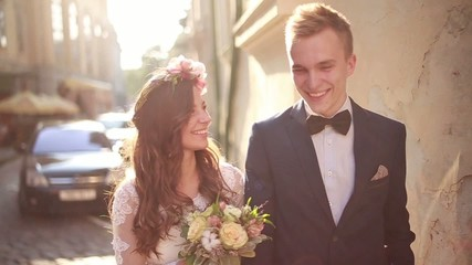 Romantic Wedding Concept Bride Holding Hand Walking