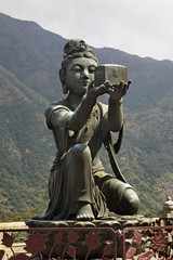 Sculpture in Po Lin Monastery. Lantau Island. Hong Kong. China
