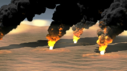 Oil Field burning 4k