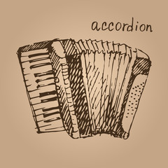 Vector illustration of a accordion. Sketch.