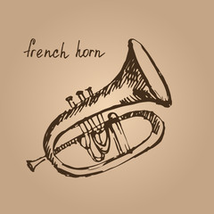 Vector illustration of a french horn. Sketch.