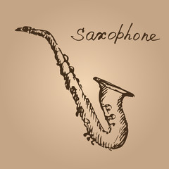 Vector illustration of a sax. Sketch.
