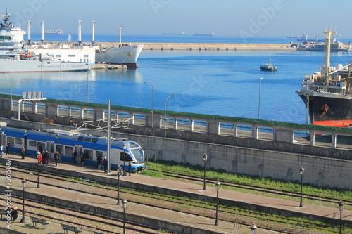 Poster Algerije Port et gare d'Alger
