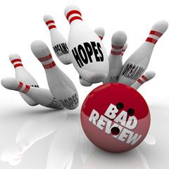 Bad Review Poor Performance Bowling Ball Strikes Hopes Dreams