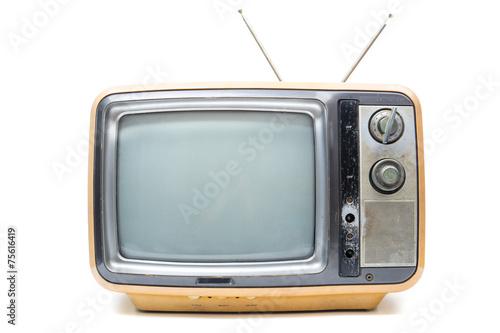 Leinwandbild Motiv Vintage TV on  white background