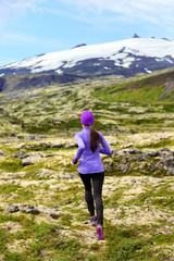 Sport athlete - exercising trail runner running
