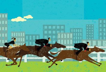 Business people horse racing
