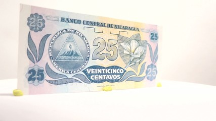 Close Look of 25 Centavos of Nicaragua