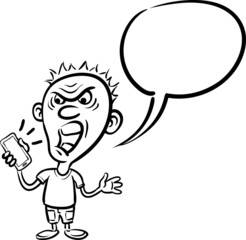 shocked cartoon character with smartphone - line drawing