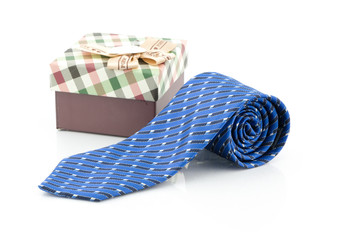 blue striped necktie on a white background