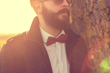 Beard and bow tie are in today, hipster look