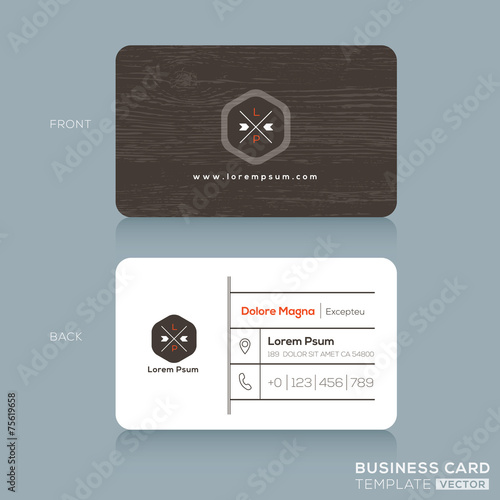 Modern Business cards Design Template with dark wood background - 75619658