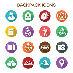 backpack long shadow icons