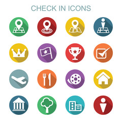 check in long shadow icons