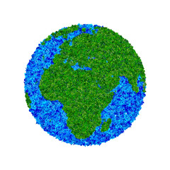 Globe made from leaves, green eco earth.